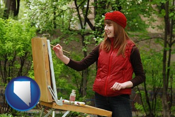 a female plein air artist painting with oils on a portable easel - with Nevada icon