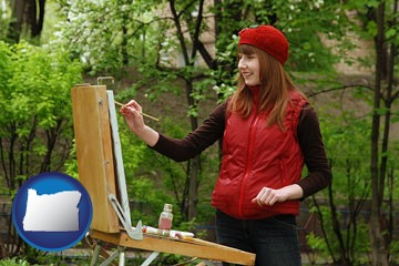 a female plein air artist painting with oils on a portable easel - with Oregon icon