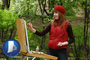 a female plein air artist painting with oils on a portable easel - with Rhode Island icon