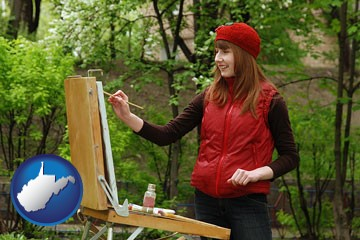 a female plein air artist painting with oils on a portable easel - with West Virginia icon